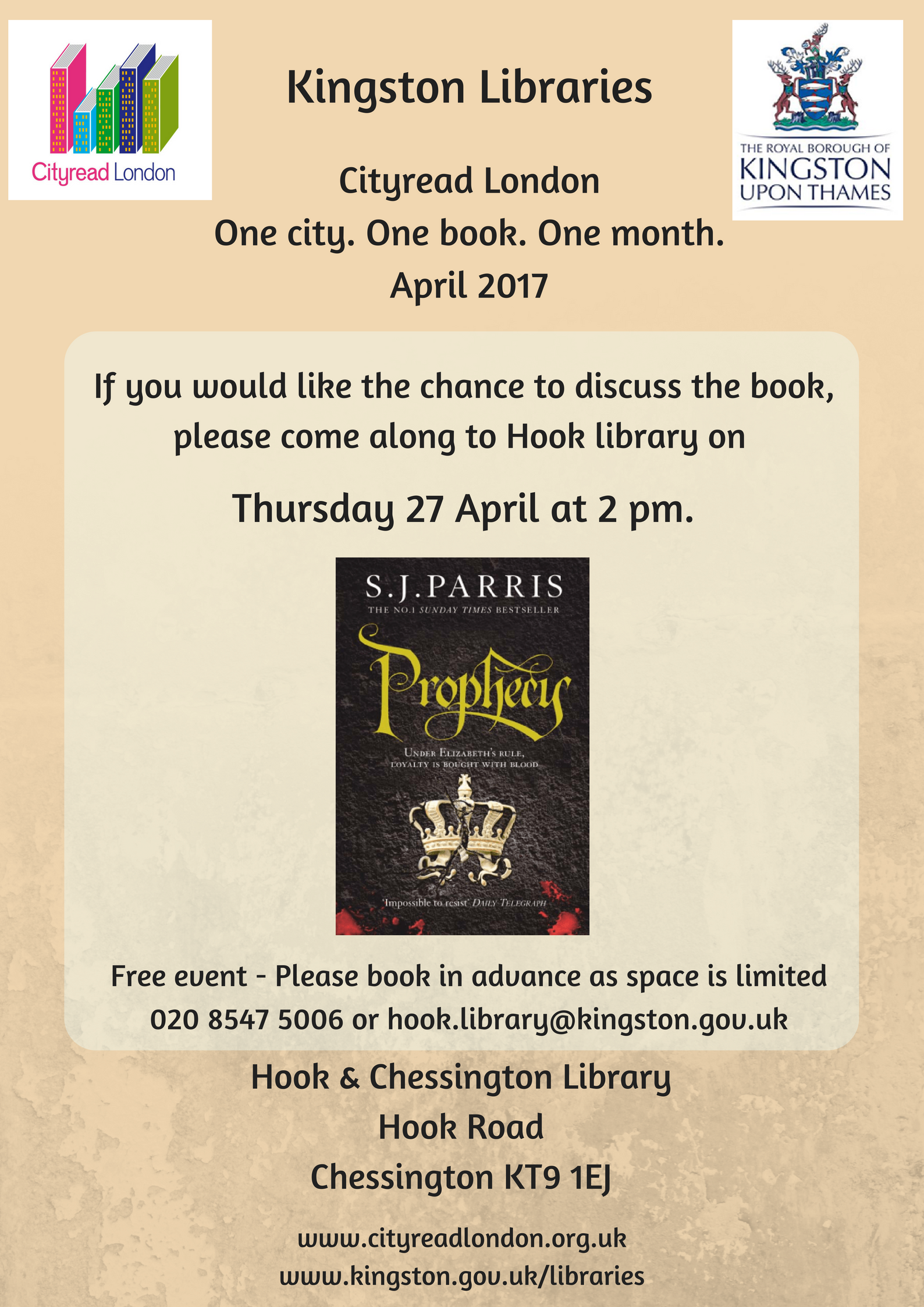 Book Group discussion : Prophecy by S.J. Parris