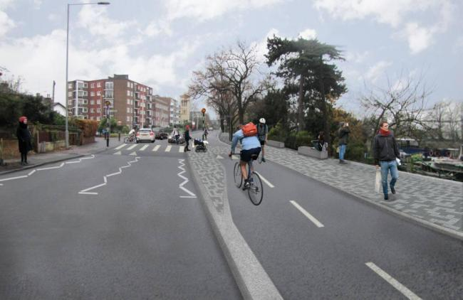The first Go Cycle route, in Portsmouth Road, opened in April 2017.