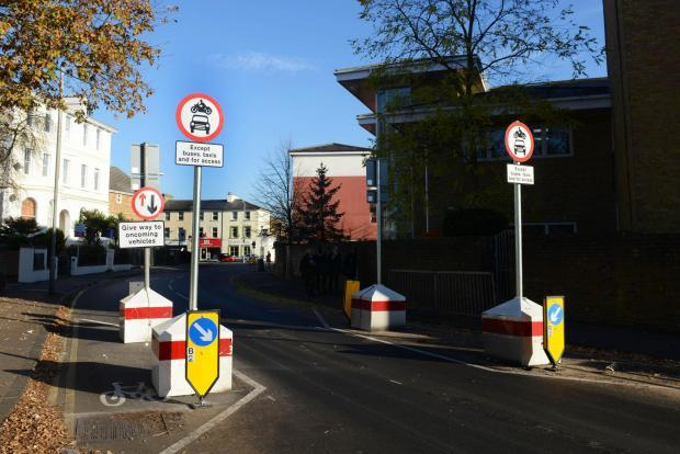 Traffic restrictions were set up in Surbiton Crescent last autumn.