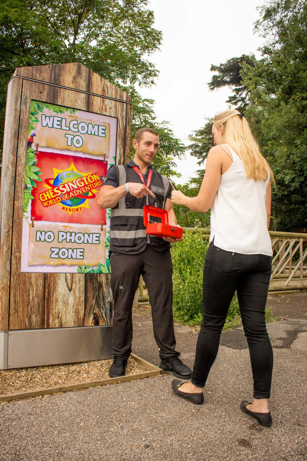 Chessington gave away free family tickets over the Bank Holiday Weekend IF parents locked their phones away for the day!