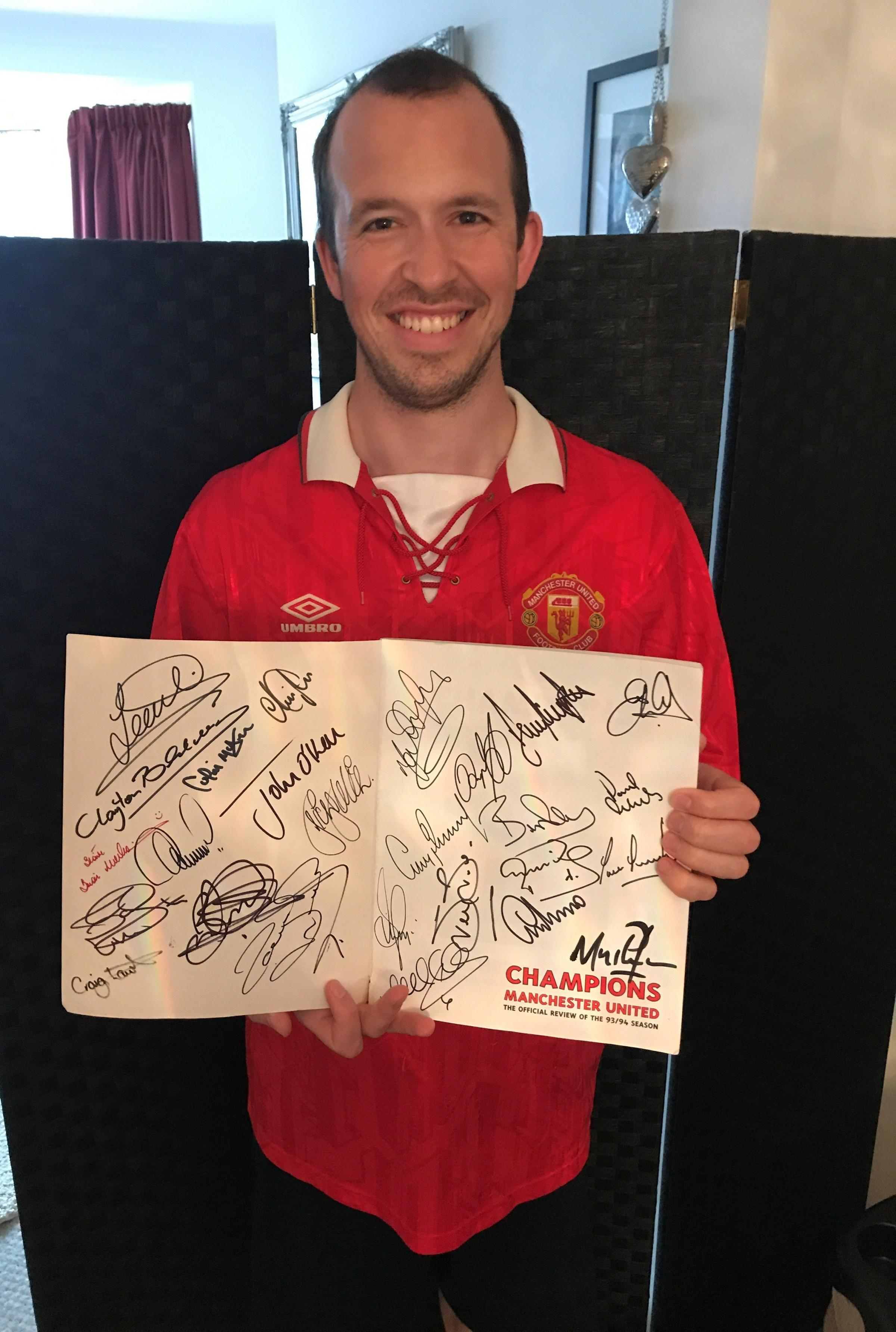 Dan Poole is collecting signatures from the 1993/1994 Manchester United team to raise money for the British Heart Foundation