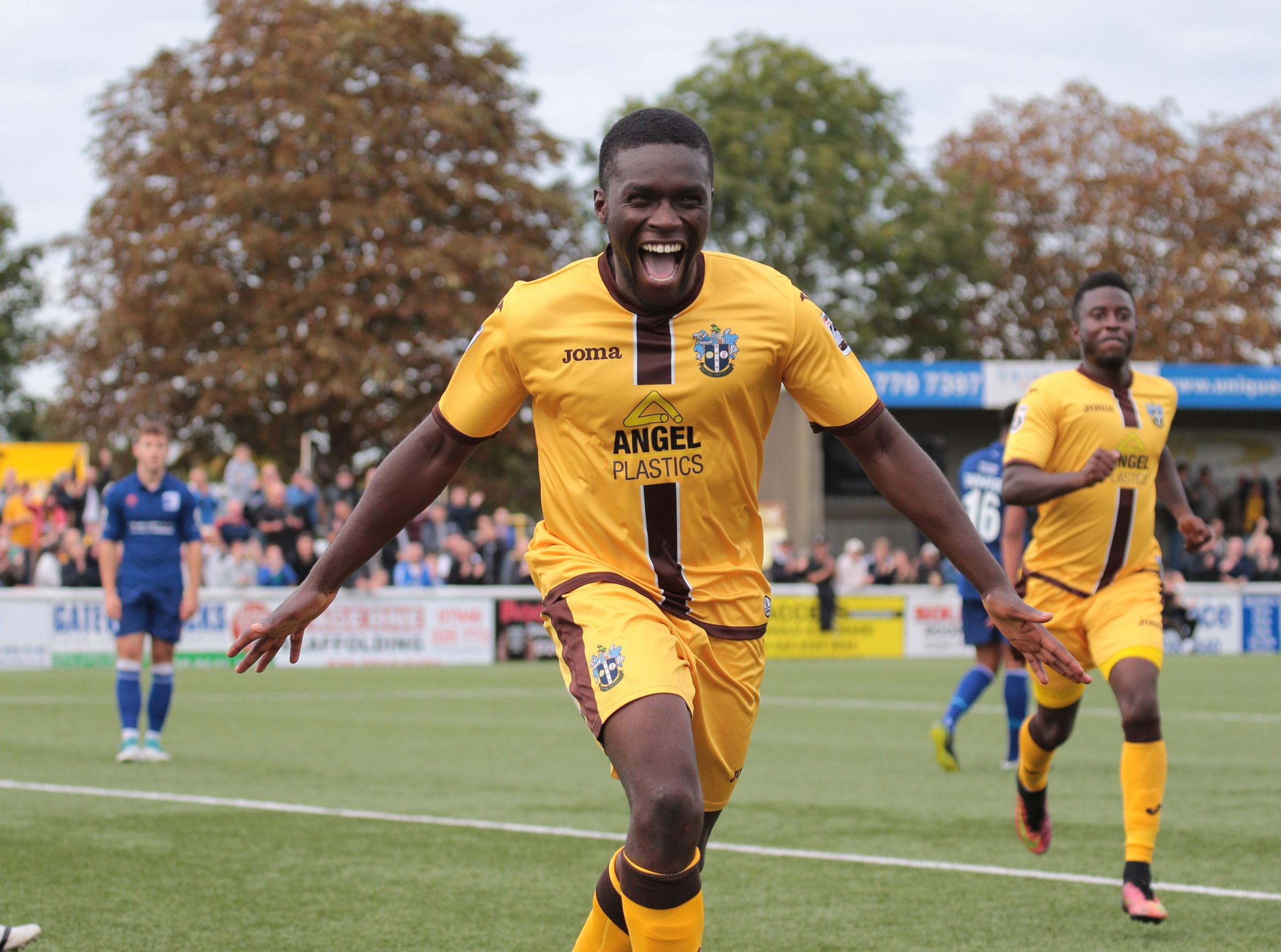 Moses Emmanuel celebrates his goal against Barrow last weekend in Sutton United's 3-2 victory. Picture: Paul Loughlin