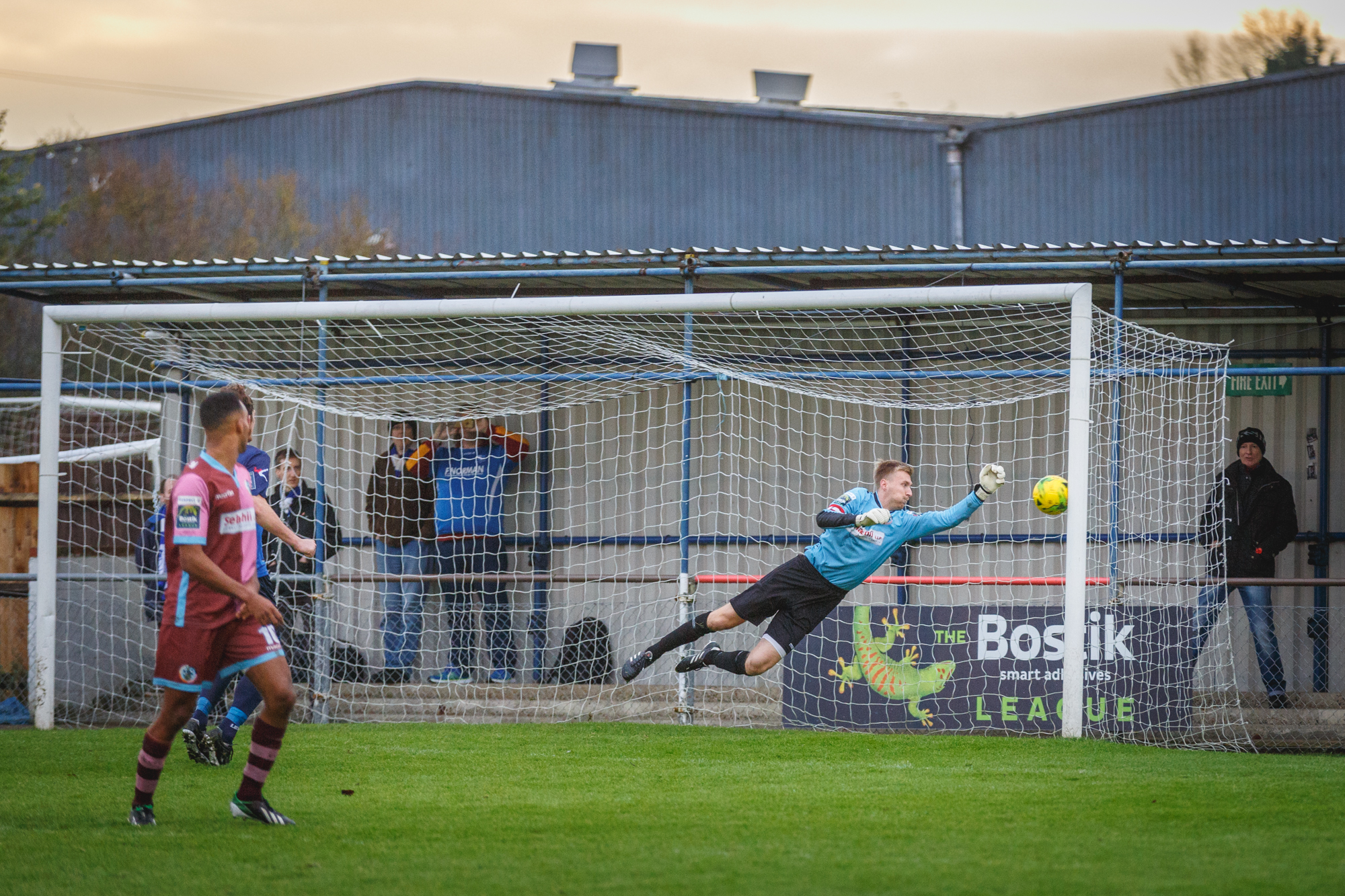 Danny Bracken can't stop a Wingate and Finchley free-kick. Picture: Stuart Tree