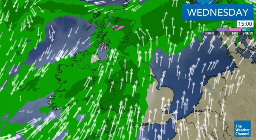 Weather Channel graphic showing the strong winds set to hit London and the south east