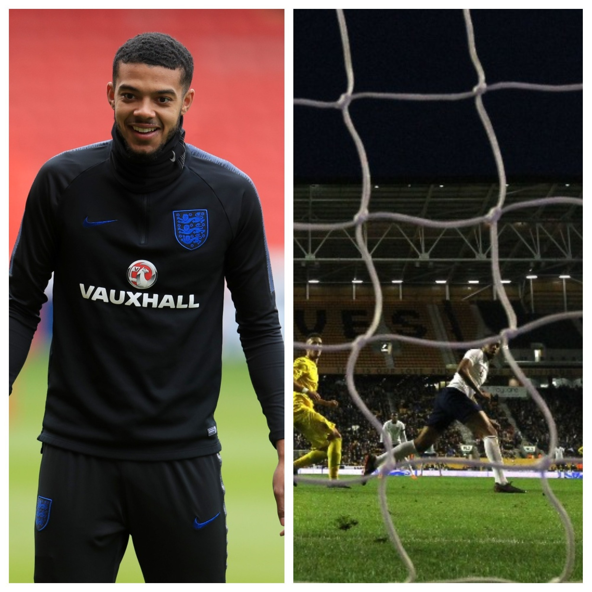 Jake Clarke-Salter in training and against Romania. Photos: (left) Mike Egerton and (right) Nigel French/PA Wire