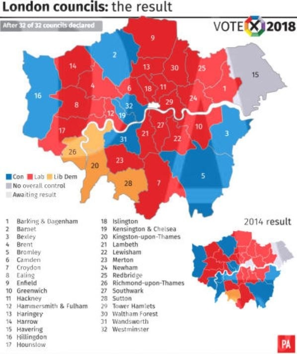 London councils results. Image: PA