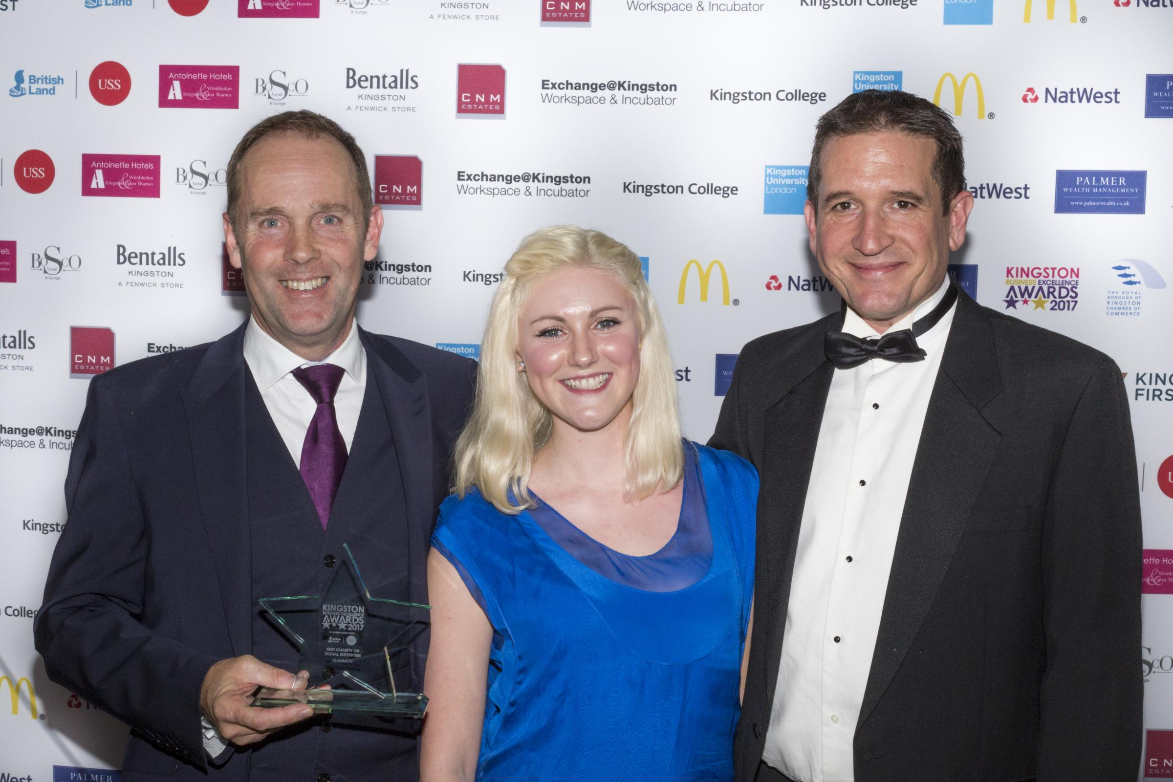 Trevor Quy and Neil Beckett (left and right) collecting their award from Katherine Hall of Bentalls at last year's awards (photo: Jackie King)