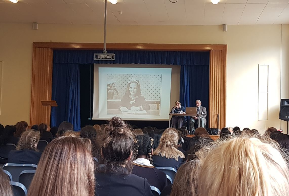 Cirla Lewis went to Tolworth Girls School to speak about her experience during the Holocaust.