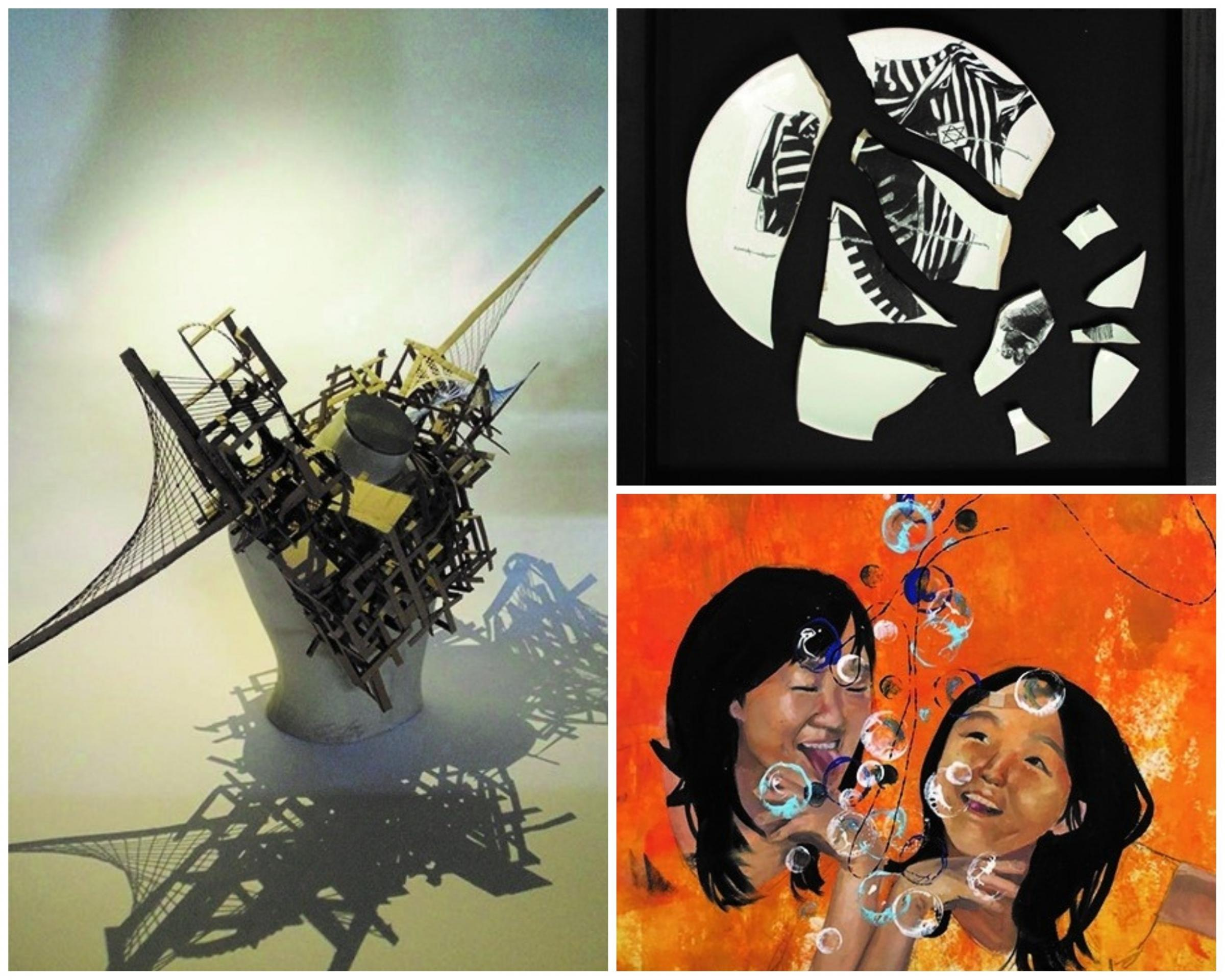 Work by George Birch (left), Freja Khela (top right) and Yena Choi (bottom right)