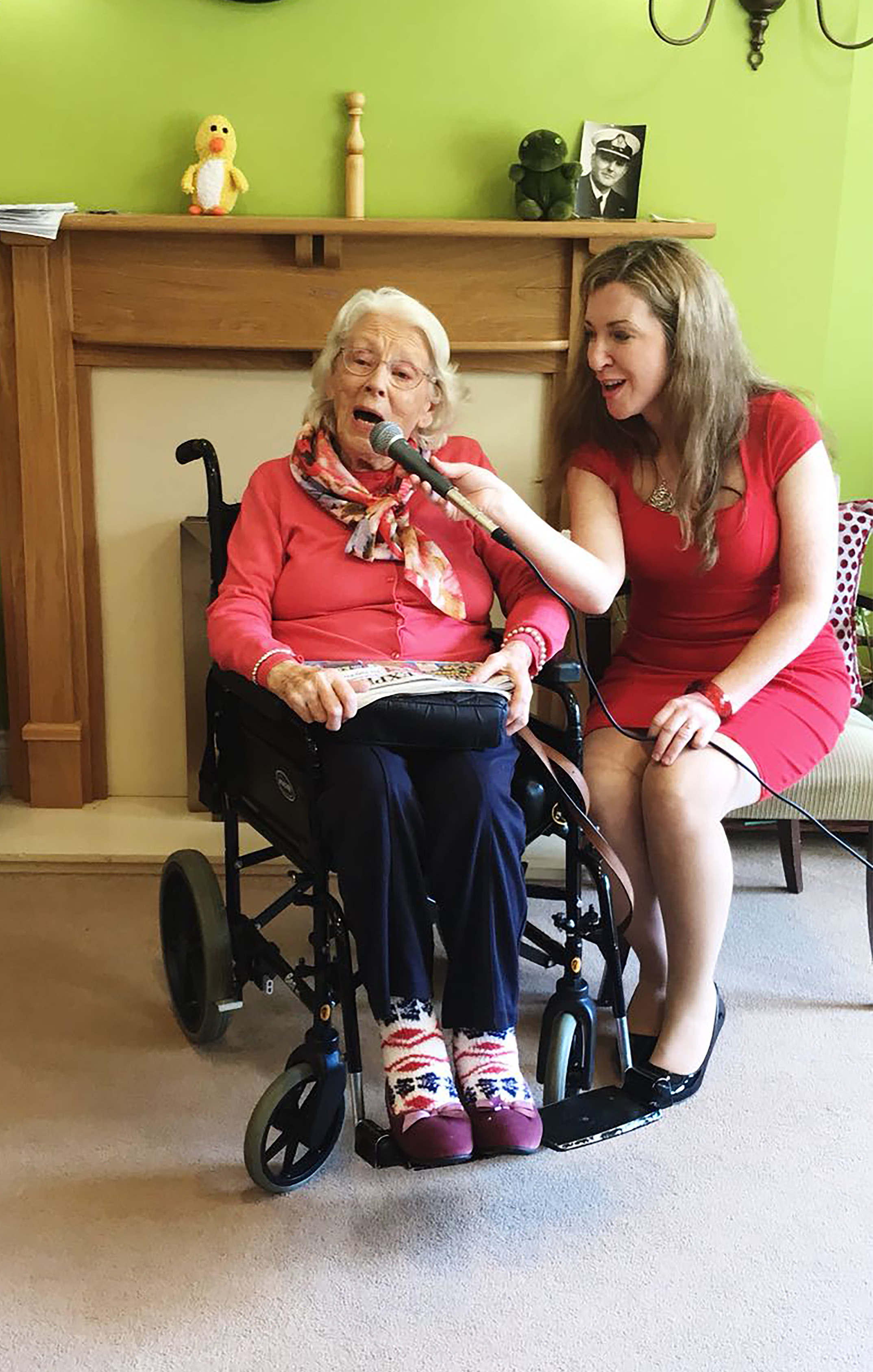 Resident Wyn regularly sings to others at the home.