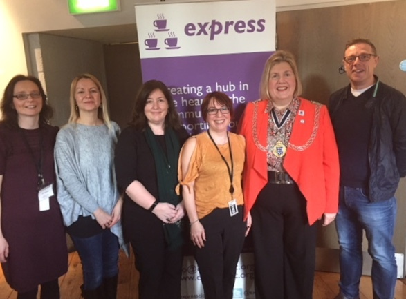Express World Autism Awareness at the Rose Theatre in March this year. Pictured are Express co-directors Annette and Tracey, centre.