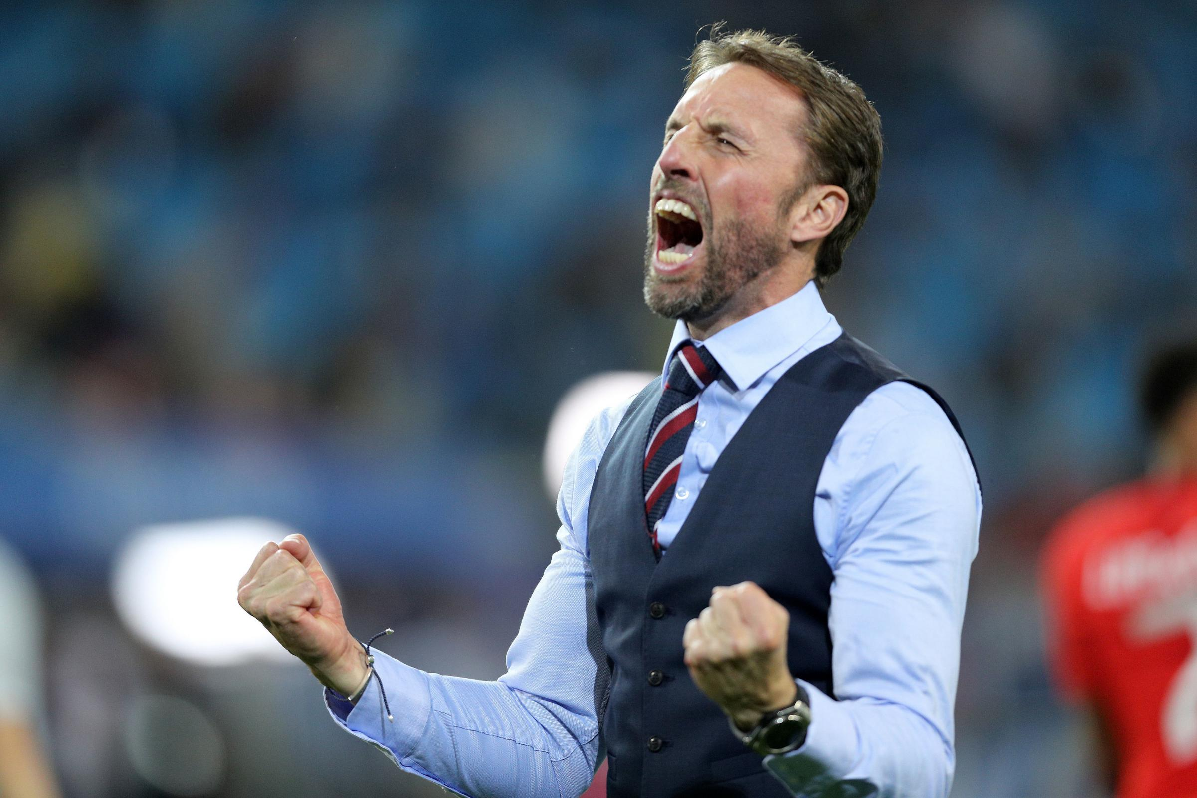 England manager Gareth Southgate was celebrating England's win over Colombia – could he and the country also be celebrating come July 15? Photo: PA