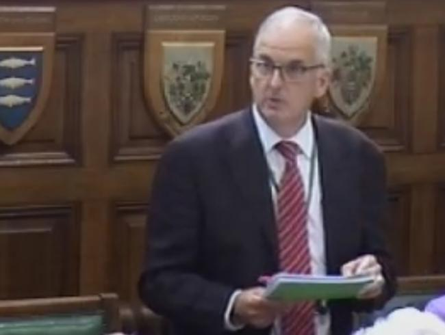 Screenshot of Cllr Robert Evans during debate on gender pay gap in Surrey County Council chamber. Cleared for use.