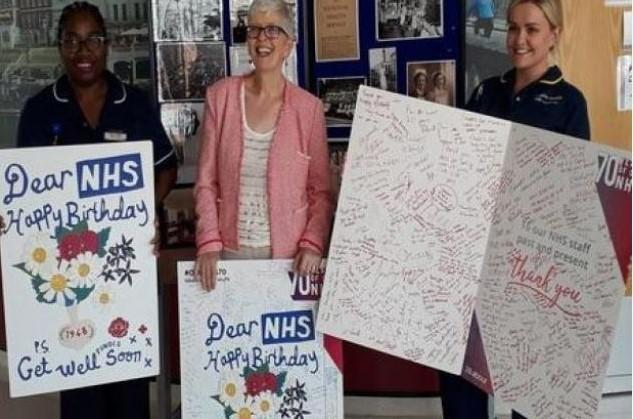 Kingston Hospital Staff Receive Giant Birthday Cards Marking 70th