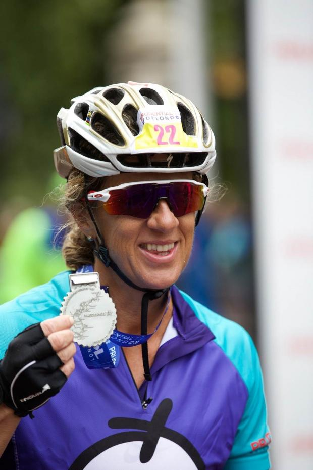 Surrey Comet: Thumbs up from Sally Gunnell OBE DL The rain didn't deter riders or spectators on Sunday, July 30. © Keith Larby/AK Photos
