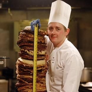 Surrey Comet: Chef Sean McGinlay attempts a world record to create the world's tallest pancake stack