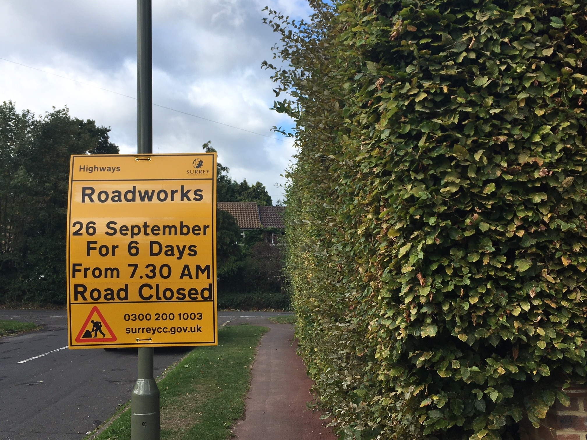 Roadworks continue in Claygate, Surrey. Credit LDR. Cleared for use