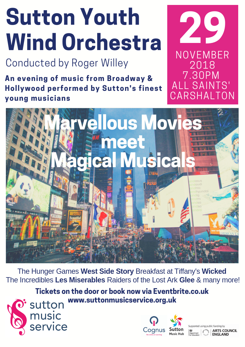 Sutton Youth Wind Orchestra play Marvellous Movies meet Magical Musicals