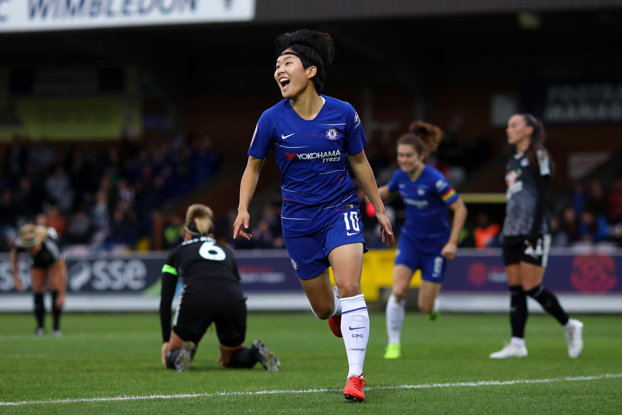 KINGSTON UPON THAMES, ENGLAND - DECEMBER 02: Ji So Yun of Chelsea celebrates after scoring the first goal of the game during the FA Women's Super League match between Chelsea and Reading at The Cherry Red Records Stadium  (Photo by Chelsea Football Cl