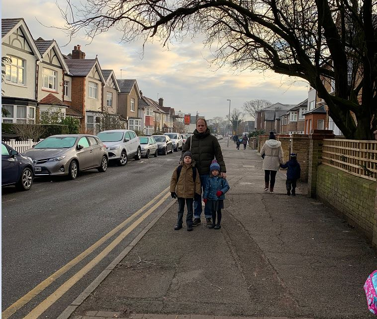 Sam Walker with his two kids in Lime Grove, New Malden
