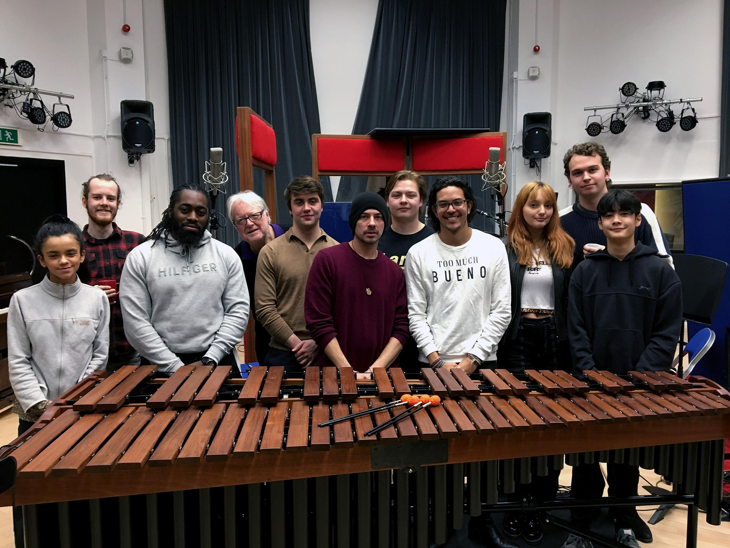 Visconti Studio Winter School 2019 with Chris Kimsey, band and student