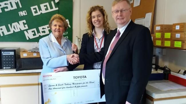 Toyota GB raised £1,550 for Epsom and Ewell Talking Newspapers