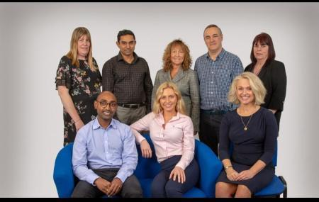 Caremark's senior team. From left to right: Care coordinator Emma Evans, field care supervisor Shahul Mohamed, care coordinator Julia Kenneally, recruitment and training manager Mike Taylor, field care supervisor Elaine Hamilton, registered manager Da
