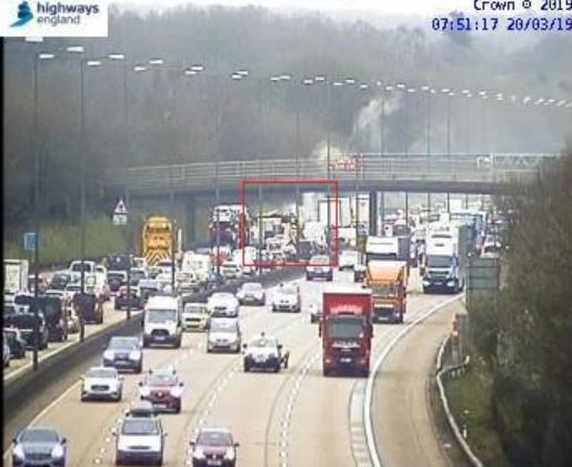The scene at the M25