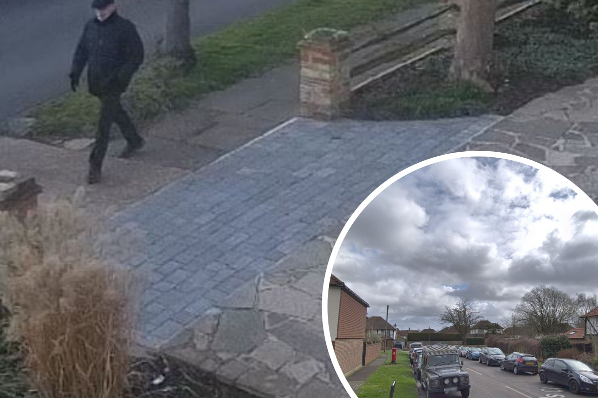 The CCTV image (photo: Surrey Police) and, inset, Yewlands Close. Photo: Google Maps / Street View