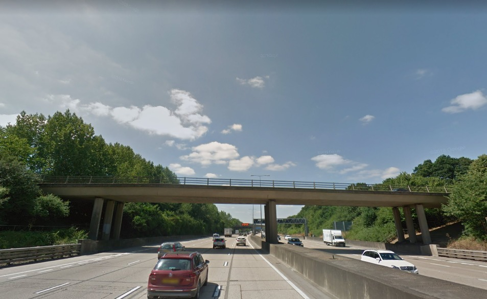 A section of the M25 motorway near Junction 10. Image: Google Maps