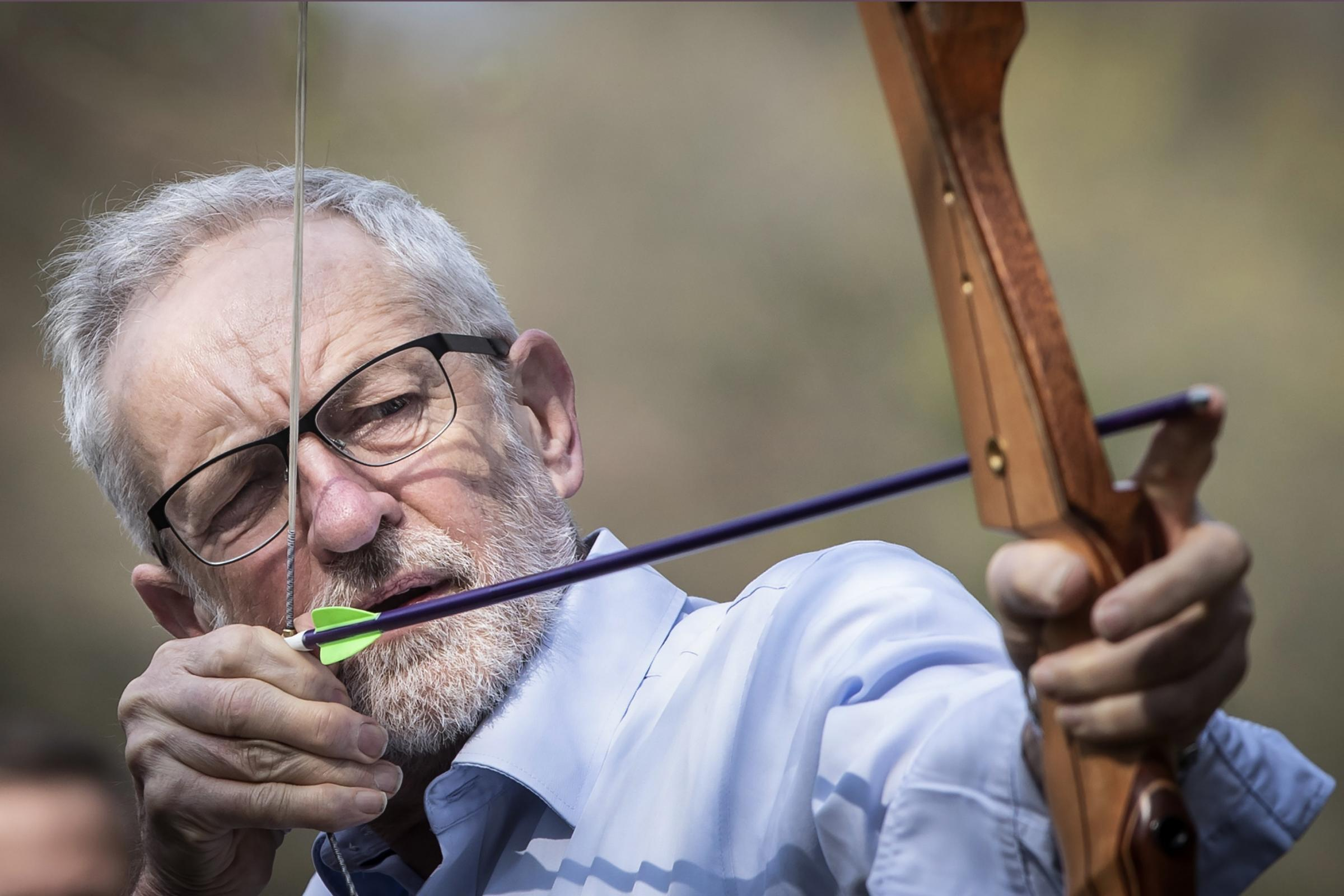 Jeremy Corbyn tries his hand at archery