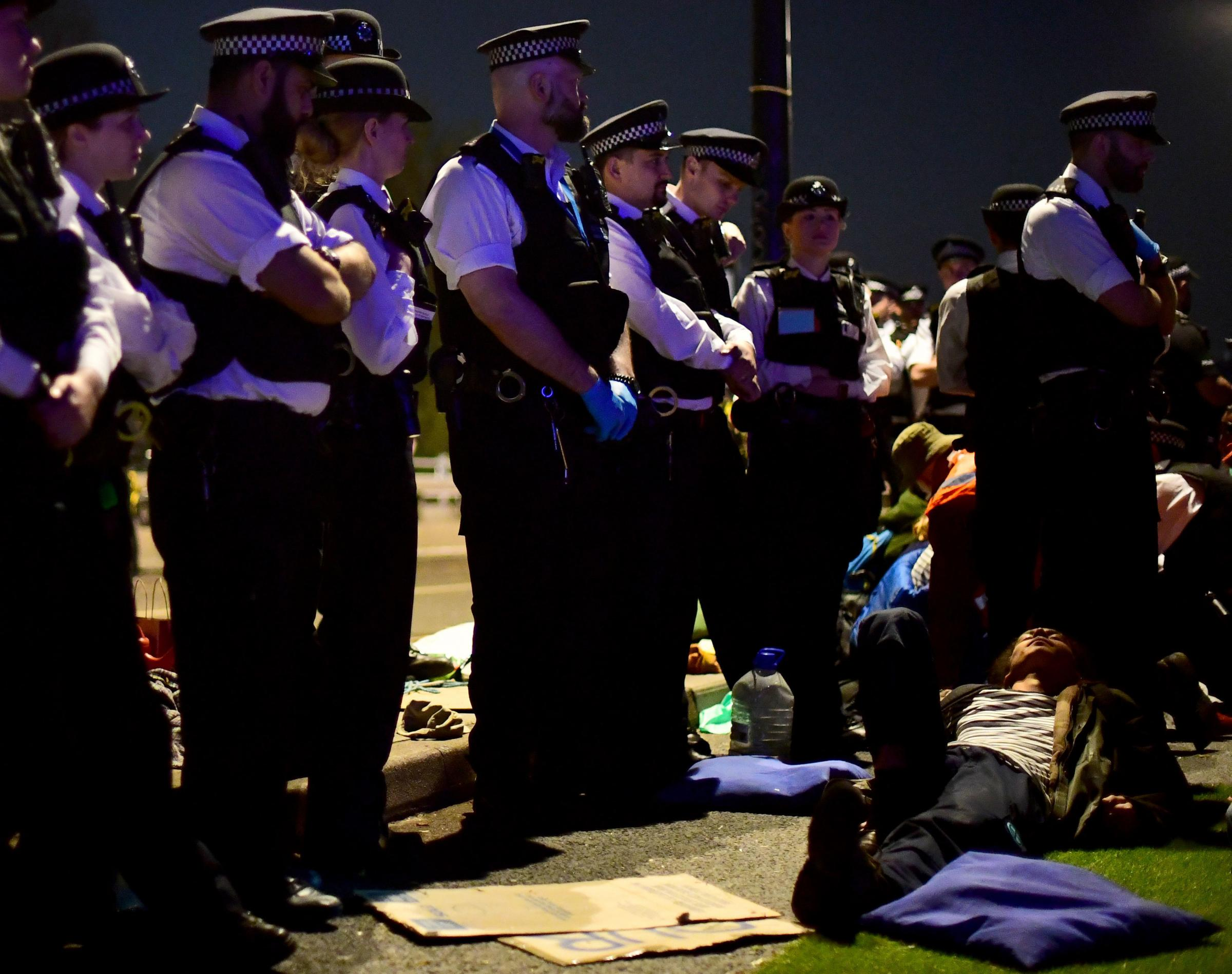 Police remove Extinction Rebellion demonstrators from Waterloo Bridge. Picture: Victoria Jones/PA Wire