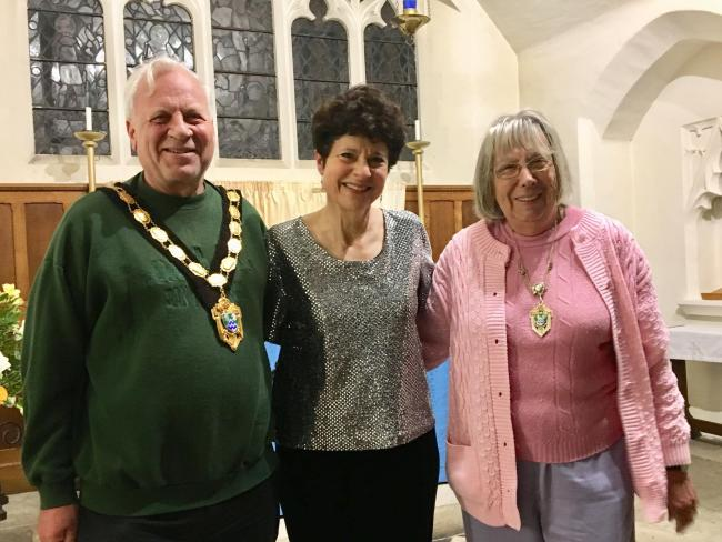 Mayor of Epsom and Ewell Neil Dallen (Left) with Margaret Fingerhut (Centre) and Mayoress Dallen (Right). Image: Nina Kaye