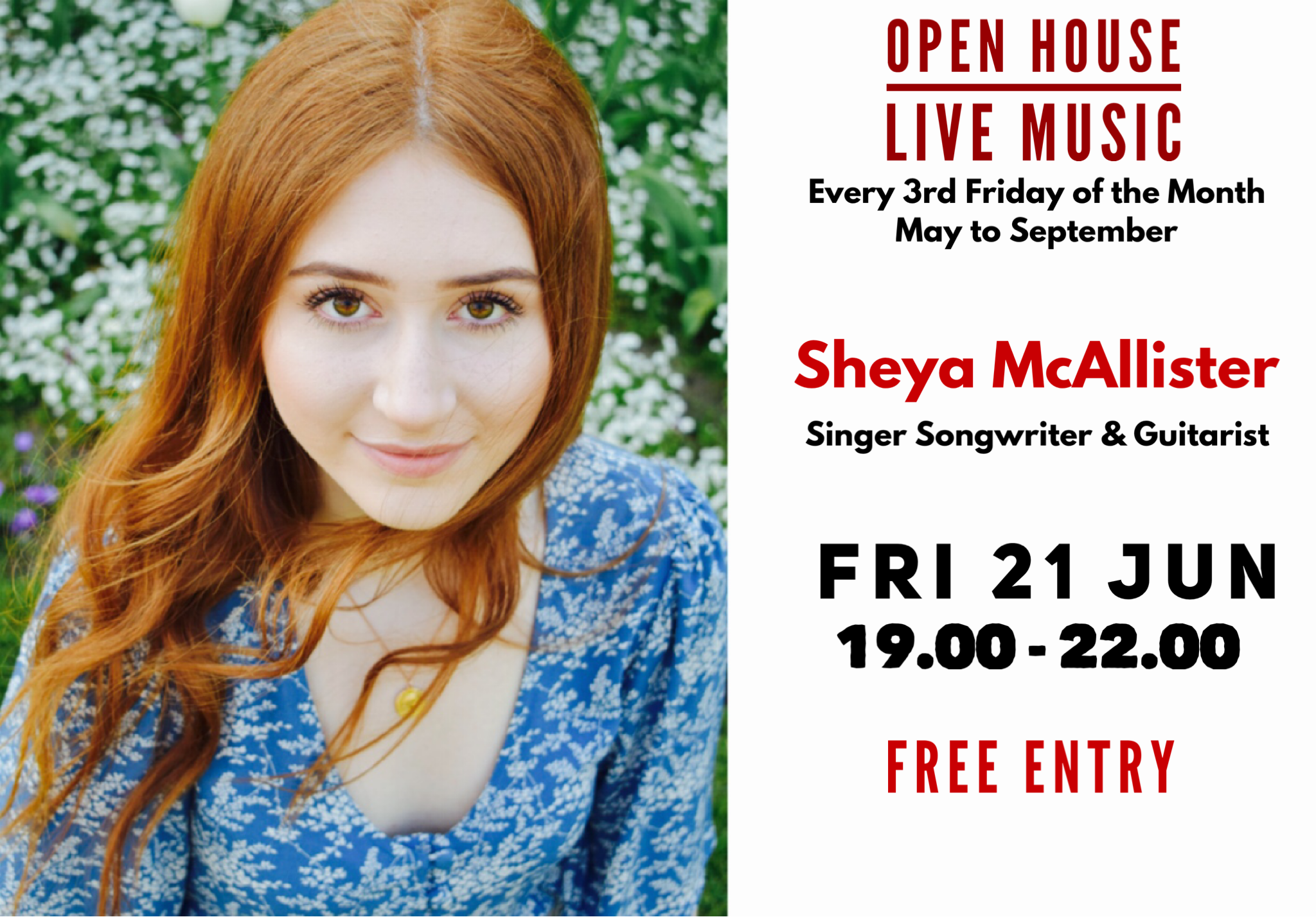 Open House Live Music Evening with Guitarist and Singer Songwriter Sheya McAllister